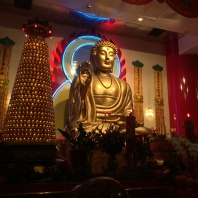 The Buddha in the main shrine room of the Mahayana Temple.