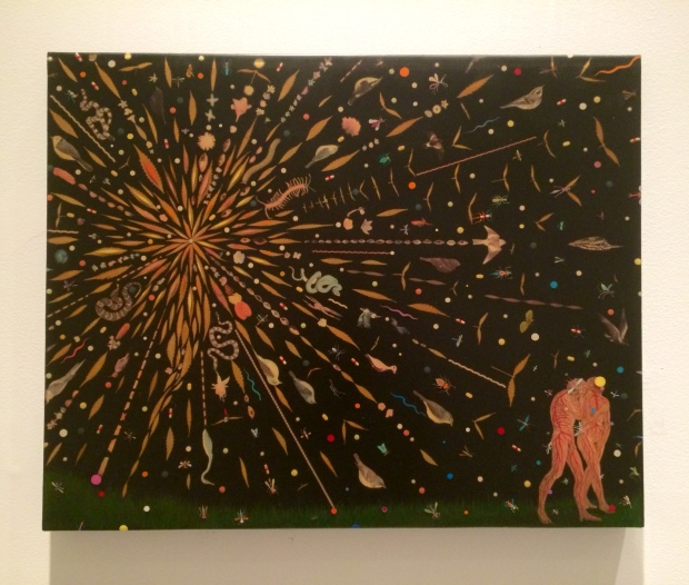 Fred Tomaselli Study for Expulsion 2000 Leaves, pills, acryllic, photocollage, and resin on wood panel