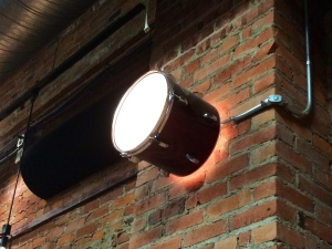 Look at this awesome drum light fixture. The church left a lot of the decor and features from the previous tenant.