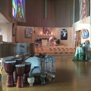 Prayer stations inside the nave.