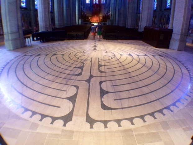 The labyrinth toward the entrance to the nave.  The photo doesn't do a good job of showing the size of this beautiful labyrinth.