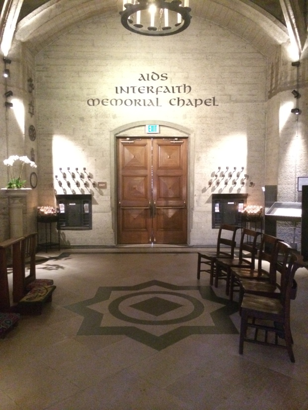 At the entrance to the AIDS Interfaith Memorial Chapel.