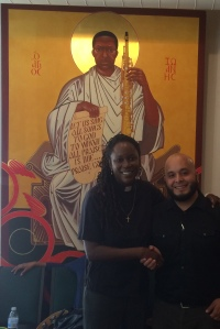 With Pastor Stephens and Saint John Coltrane in background.