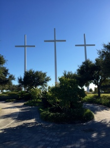 The Bethany Crosses stand by Interstate 10 and can be seen from quite a distance.