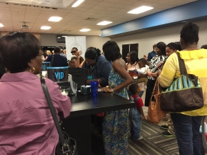 The VIP table and the coffee station are the place to be after the service.